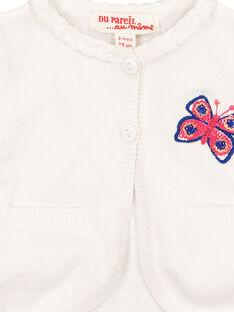 Weiße Baby-Strickweste für Mädchen FITOCAR / 19SG09L1CAR000