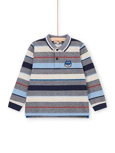Grau und rot gestreiftes Poloshirt - Junge Kind LOBLEPOL / 21S902J1POL705