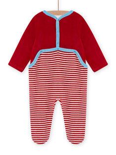 Roter Samtstrampler mit Schafsmuster Baby Junge MEGAGREMOU / 21WH1493GREF526