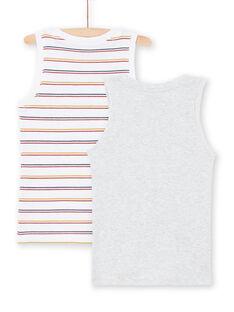 Boy's 2 Weiß und Grau Tank Tops mit passenden Mustern MEGODELDINO / 21WH12B2HLI000