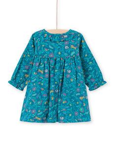 Baby Mädchen Kleid mit langen Ärmeln in blau mit Blumendruck MITUROB1 / 21WG09K3ROB714