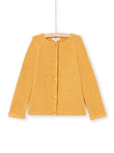 Langarm-Strickjacke für Mädchen, einfarbig senfgelb MAJOCAR3 / 21W90116CARB106