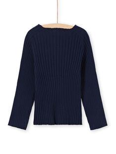 Marineblauer einfarbiger Langarm-Pullover für Mädchen MAJOPULL1 / 21W901N3PUL070