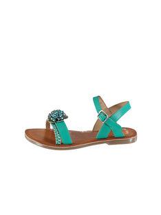 Sandalen aus Leder und schillerndem Leder für draußen FFSANDLO / 19SK35D6D0E202
