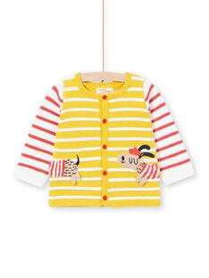 Baby Junge gelb gestreifte Strickweste LUNOGIL / 21SG10L1GIL106