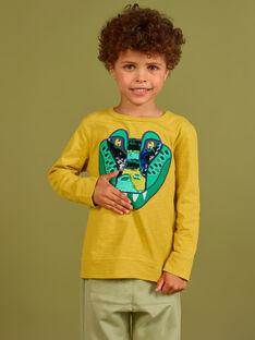 Gelbes Krokodil-T-Shirt für Jungen mit Wendepailletten MOKATEE2 / 21W902I3TML106