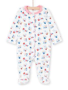 Mädchen ecru Kaninchen Druck Layette Kragen Schlafanzug LEFIGRET2 / 21SH1357GRE001