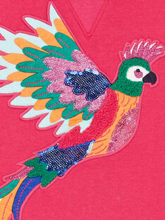 Rosa Kapuzenpulli mit Papageienmotiv-Stickerei LANAUSWEA / 21S901P1SWEF507