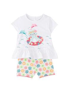 Weißer kurzer Babypyjama für Mädchen JEFIPYJEAU / 20SH13U1PYJ000