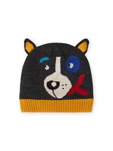 Anthrazitfarbene Mütze für Baby-Jungen mit Hundedruck MYOGROBON3 / 21WI0252BON944