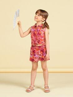 Orange und rosa Bluse mit Blumendruck LATERCHEM / 21S901V1BLU001