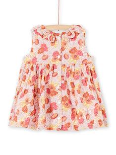 Rosa, weißes und gelbes Kleid mit Blumen- und Polka-Dot-Druck LITERROB2 / 21SG09V1ROB001