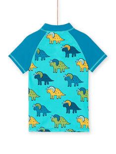 Anti-UV-T-Shirt in Blau und Türkis für Jungen LYOMERUVTIDIN / 21SI02D1TUVC215