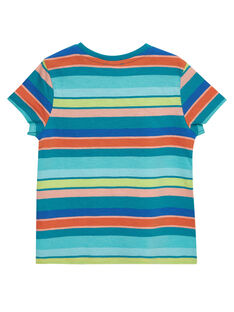 Türkisfarbenes, bunt gestreiftes kurzärmeliges T-Shirt für Jungen JOMARTI4 / 20S902P4TMCC242
