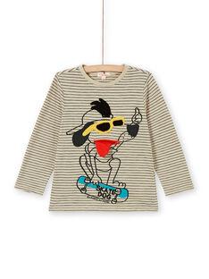 T-Shirt Sand und schwarz gestreifte Baumwolle Hund Animation und gestreifte Baumwolle Hund Animation Junge Kind LOPOETEE / 21S902Y1TML808