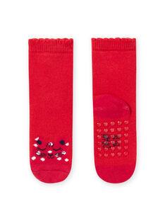 Rote Socken mit Leopardenmuster für Baby Mädchen MYIJOSOQB1 / 21WI0911SOQ511