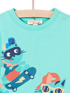 Türkises T-Shirt mit Skate-Katzen-Design für Baby-Junge MUTUTEE2 / 21WG10K1TML209