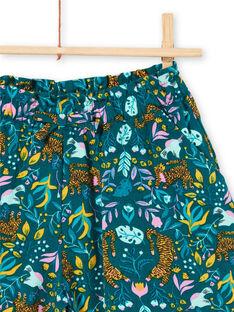 Blaue Entenshorts für Mädchen mit Tiger- und Blumendruck LAVERSHORT2 / 21S901Q2SHO714