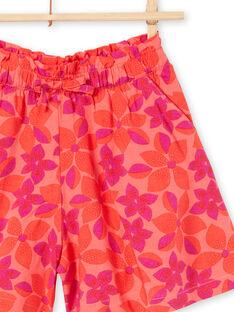 Koralle und lila Blumendruck Shorts LAVISHORT2 / 21S901U2SHO419