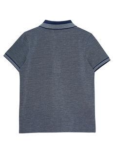 Zweifarbiges, marineblaues Polohemd für Jungen mit gestreiftem Kragen JOPOEPOL / 20S902G1POL720
