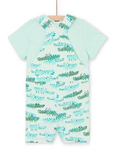Latzhose und T-Shirt Wasser grün und Baby Junge grün LUVERENS / 21SG10Q1ENSG621