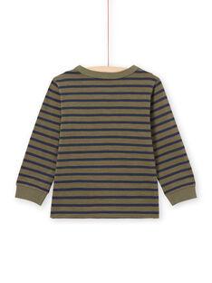 Langarm-T-Shirt für Jungen mit khaki- und marineblauen Streifen MOJOTIRIB3 / 21W90225TMLG631