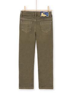 Einfarbig khakifarbene Hose für Jungen MOKAPAN / 21W902I1PAN628