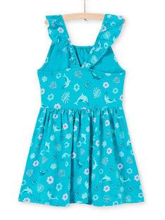 Türkisfarbenes Kleid für Mädchen mit gerüschten Trägern, Delphin- und Blumendruck LAPLAROB2 / 21S901T1ROBC216