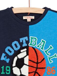 Marineblaues und blaues Jungen-T-Shirt LOHATI1 / 21S902X2TMC705