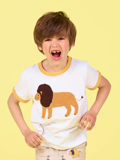 Weißes und orangefarbenes T-shirt - Junge LOJAUTI / 21S902O1TMC000