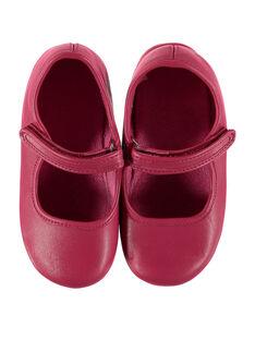 Fuchsiafarbene Ballerina-Hausschuhe aus Leder für Mädchen GFBELFILL1 / 19WK35B1D07030