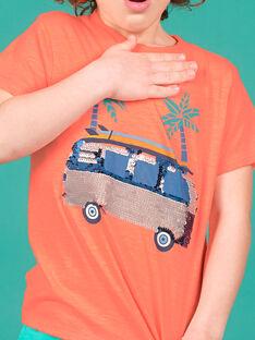 Jungen-T-Shirt in fluoreszierendem Orange LOBONTI2 / 21S902W5TMCE411