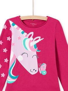 Dunkelrosa T-Shirt und Hose Pyjama-Set für Mädchen MEFAPYJLIC / 21WH1173PYGD312