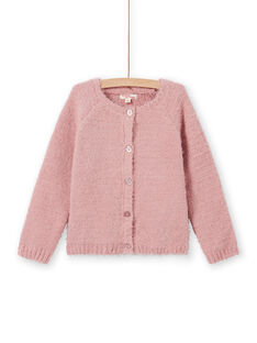 Kind Mädchen rosa Strickjacke mit Chenille MAYJOCAR2 / 21W9011ACAR303