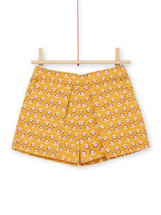 Gelbe und rosa Shorts mit floralen Motiven aus Baumwolle für Kinder und Mädchen LAPOESHORT / 21S901Y1SHO107