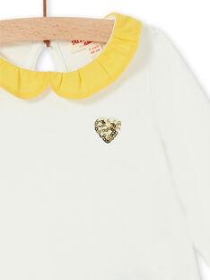 Ecru und gelbe Baumwolle Baby Mädchen T-shirt LIJOBRA1 / 21SG0932BRA001