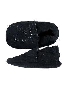 Weicher Lederpantoffel marineblau mit Fantasiesternen Baby Mädchen GNFSTAR / 19WK37Z1D3S070