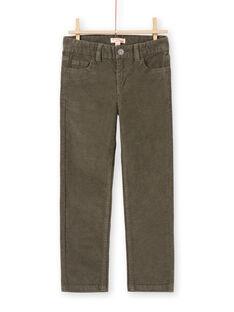 Einfarbig khakifarbene gerippte Hose für Jungen MOJOPAVEL2 / 21W90214PANG631