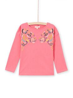 Child girl's pink leopard print long sleeve T-shirt MAKATEE2 / 21W901I1TMLD305