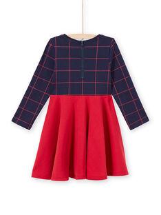 Zweifarbiges Kleid für Mädchen in Nachtblau und Rot MAJOROB6 / 21W90125ROBC205