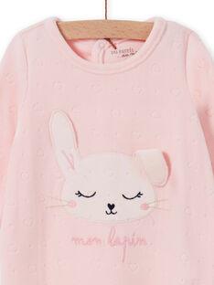 Baby Mädchen rosa Samt Strampler mit Kaninchen Muster MEFIGRELAP / 21WH1386GRED310