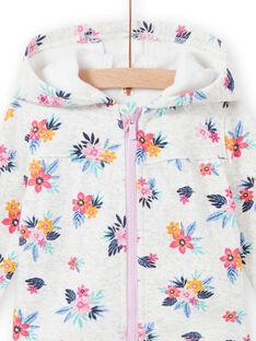 Grauer geblümter Pullover für Baby Mädchen MIPLAHOJOG / 21WG09O1JGHJ920