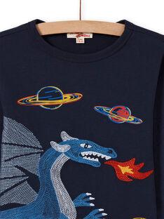 Jungen-T-Shirt in Mitternachtsblau mit Drachen- und Weltraummotiv MOPLATEE3 / 21W902O4TML705