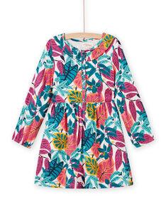 Rosafarbenes Kleid aus Twill mit Blumendruck für Mädchen MATUROB2 / 21W901K4ROBH705