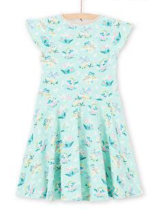 Grünes Kleid für Mädchen mit Blumendruck LAVEROB2 / 21S901Q4ROBG621