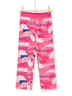 Pyjama-T-shirt und Hose fuchsia und weiß Kind Mädchen LEFAPYJWAX / 21SH1157PYJ030