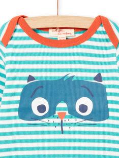 Baby Boy Türkis & Weiß Streifen Langarm Waschbär T-Shirt MUJOTEE2 / 21WG1023TMLC217