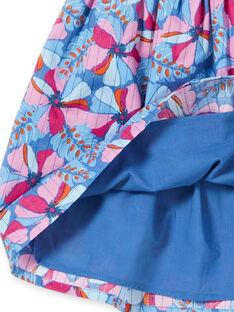 Lavendelblauer und rosa Rock mit Blütendruck und Lurex®-Streifen aus Baumwolle LABLEJUP1 / 21S901J1JUPC208