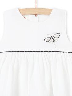 Baby Mädchen weißes Samtkleid LIPOEROB1 / 21SG09Y2ROB001