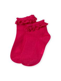 Rosa Socken für Mädchen mit Spitzenvolant MYAESCHOD4 / 21WI01E6SOQF507